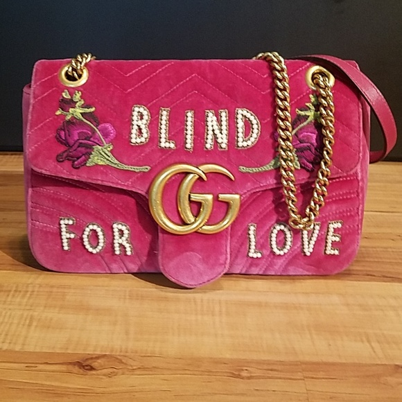 3238ab1d18a877 Gucci Handbags - Gucci Pink GG Marmont Shoulder bag 'Blind for Love
